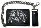 BULLDOG W SPIKED COLLAR TRIFOLD LEATHER WALLETS WITH CHAIN (Sold by the piece)