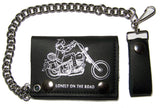 BIKER LONELY ON THE ROAD MOTORCYCLE TRIFOLD LEATHER WALLETS WITH CHAIN (Sold by the piece)