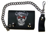 BIKER WITH POOR BOY HAT TRIFOLD LEATHER WALLETS WITH CHAIN (Sold by the piece)