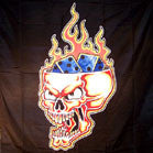 LARGE OPEN HEAD SKULL WITH DICE 45IN WALL BANNER  (Sold by the piece)-* CLOSEOUT $2.50 EA