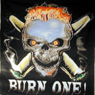 LARGE BURN ONE SKULL 45 IN CLOTH WALL BANNER (Sold by the piece) -* CLOSEOUT $2.50 EA