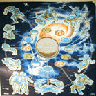 ZODIAC OUTER SPACE 45 INCH WALL BANNER / FLAG   (Sold by the piece) -* CLOSEOUT $1.95 EA