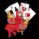 DEVIL WOMAN PLAY CARDS CLOTH 45 IN WALL BANNER  (Sold by the piece) -* CLOSEOUT ONLY $ 2.50 EA