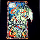 GREEN DRAGON ON CASTLE 45 INch WALL BANNER  (Sold by the piece) -* CLOSEOUT ONLY $2.95 EA