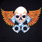 SKULL WITH PISTONS AND WINGS 45 INCH WALL BANNER / FLAG (Sold by the piece) -* CLOSEOUT ONLY $2.95 EA
