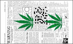 WARNING POT LEAF 3' x 5' NEWSPAPER FLAG (Sold by the piece)
