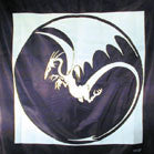 FLYING DRAGON IN MOON 45 INCH WALL BANNER (Sold by the piece) -* CLOSEOUT $2.50 EA