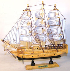 WOODEN 13 INCH  SAIL BOAT SHIP  (Sold by the piece) -* CLOSEOUT NOW ONLY $7.95 EA