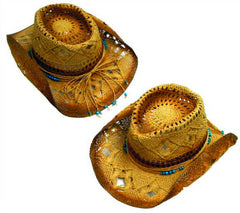 NATURAL COLOR WOVEN COWBOY HATS (Sold by the piece) *- CLOSEOUT NOW $ 5.50 EA