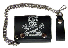 SKULL BOMBS TRIFOLD LEATHER WALLET WITH CHAIN (Sold by the piece)