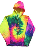 ZIP UP BRIGHT RAINBOW SWIRL TIE DYED ZIPPER HOODIE SWEAT SHIRT  (sold by the piece ) *-CLOSEOUT $ 12.50 EA