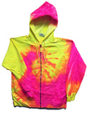 ZIP UP PINK / YELLOW SWIRL TIE DYED ZIPPER HOODIE SWEAT SHIRT  (sold by the piece ) *-CLOSEOUT $ 12.50 EA