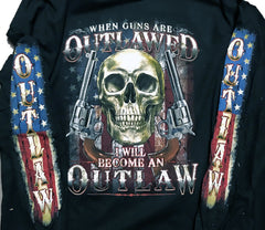 OUT LAW SKULL 2ND AMENENDMENT LONG SLEEVE TEE (Sold by the piece) *- CLOSEOUT NOW AS LOW AS$ 3.95 EA