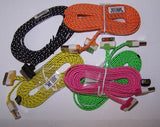 IPHONE 4 / IPAD  BRAIDEDD CLOTH PHONE CABLE CHARGING CORDS 6 FOOT ( sold by the piece ) CLOSEOUT NOW ONLY  $ 1 EA