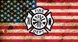 FIRE DEPT AMERICAN FLAG METAL LICENSE PLATE ( sold by the piece or dozen )
