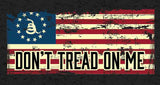 DONT TREAD ON ME VINTAGE AMERICAN FLAG METAL LICENSE PLATE ( sold by the piece or dozen )
