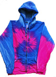 ZIP UP BLUE  /  PINK SWIRL TIE DYED ZIPPER HOODIE SWEAT SHIRT (sold by the piece ) *- CLOSEOUT NOW $ 12.50 EA