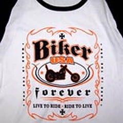 BIKER FOREVER  COLOR SLEEVE TEE SHIRTS (Sold by the piece)