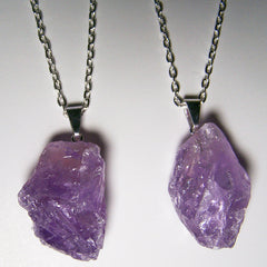 AMETHYST ROUGH NATURAL MINERAL STONE 24 IN SILVER LINK CHAIN NECKLACE (sold by the piece or dozen )