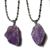 AMETHYST ROUGH NATURAL MINERAL STONE STAINLESS STEEL BALL CHAIN NECKLACE (sold by the piece or dozen  )