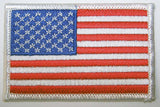 AMERICAN FLAG WHITE BOARDER left arm 3 INCH EMBROIDERED PATCH ( sold by the piece )