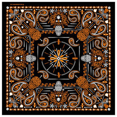 DELUXE ORANGE PAISLEY RETRO SKULLS BANDANA (Sold by the piece or dozen) BANDANNA