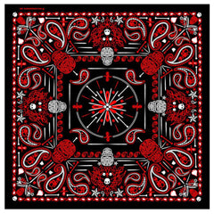 DELUXE RED PAISLEY RETRO SKULLS BANDANA (Sold by the piece or dozen) BANDANNA