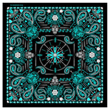 DELUXE TURQUOISE BLUE PAISLEY RETRO SKULLS BANDANA (Sold by the piece or dozen) BANDANNA