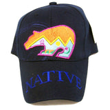 NATIVE PRIDE BEAR SYMBOL EMBROIDERED BASEBALL HAT  (Sold by the piece) -* CLOSEOUT ONLY $ 2.50 EA