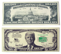 DONALD TRUMP ONE BILLION DOLLAR FAKE MONEY BILL (Sold by the pad of 25 bills )