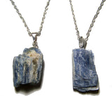 BLUE KYANITE ROUGH NATURAL MINERAL STONE 18 IN SILVER LINK CHAIN NECKLACE (sold by the piece or dozen )