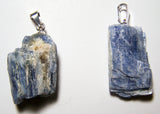 BLUE KYANITE ROUGH NATURAL MINERAL STONE PENDANT (sold by the piece or bag of 10 )