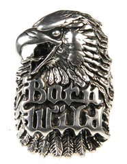 BORN WILD EAGLE HEAD BIKER RING (Sold by the piece)