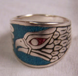 BAND EAGLE HEAD W TURQUOISE BIKER RING (Sold by the piece)