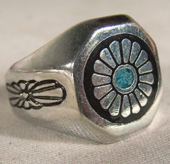 NATIVE RETRO ROUND FLOWER BIKER RING (Sold by the piece)