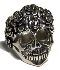 SPIDER WEBBED HAIR SKULL HEAD BIKER RING (Sold by the piece) * CLOSEOUT AS LOW AS 3.75 EA