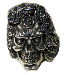 SKULL HEAD WITH ROSE HAIR BIKER RING  (Sold by the piece) **-  CLOSEOUT AS LOW AS $ 2.50 EA