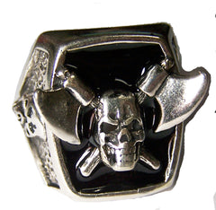 CROSSED HATCHETS AND SKULL BIKER RING  (Sold by the piece)