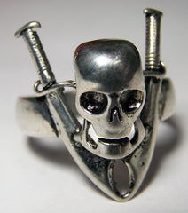 PIRATE SKULL & SWORDS BIKER RING (Sold by the piece)