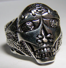 TRIBAL SEWN MASK SKULL HEAD SILVER BIKER RING  (Sold by the piece) *