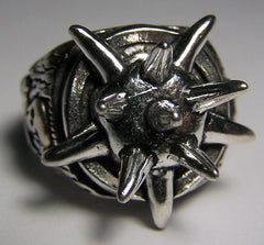 SPIKED BALL DELUXE SILVER BIKER RING (Sold by the piece) *