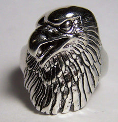 LARGE EAGLE HEAD DELUXE SIVER BIKER RING (Sold by the piece)  *