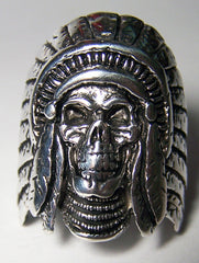 INDIAN SKULL WITH HEADDRESS BIKER RING  (Sold by the piece) **-  CLOSEOUT AS LOW AS $ 3.50 EA