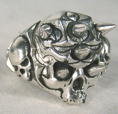SPIKE SKULL DELUXE SILVER BIKER RING (Sold by the piece) -* CLOSEOUT $ 3.75 EA
