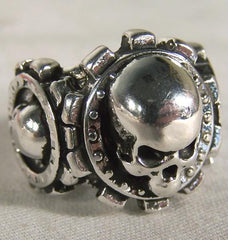 TRIPLE SKULL SHIELDS BIKER RING (Sold by the piece)