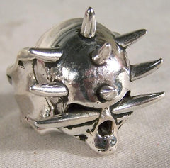 SPIKES THROUGH SKULL HEAD BIKER RING  (Sold by the piece)