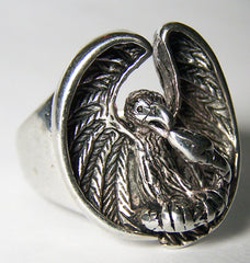EAGLE HOLDING SNAKE BIKER RING  (Sold by the piece)