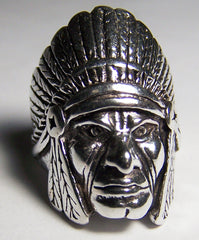 INDIAN CHIEF FACE SILVER BIKER RING (Sold by the piece) *- CLOSEOUT AS LOW AS $ 3.75 EA