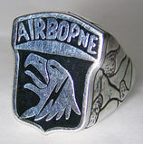 AIRBORNE EAGLE military SILVER DELUXE BIKER RING (Sold by the piece) *