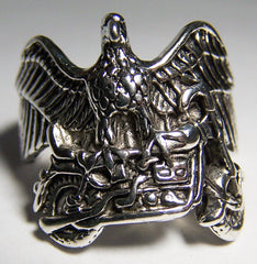 EAGLE ON TOP OF MOTORCYCLE BIKER RING  (Sold by the piece)
